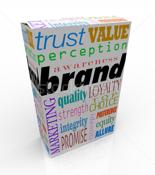 Stock photo: Brand Words on Box Package Branding Product