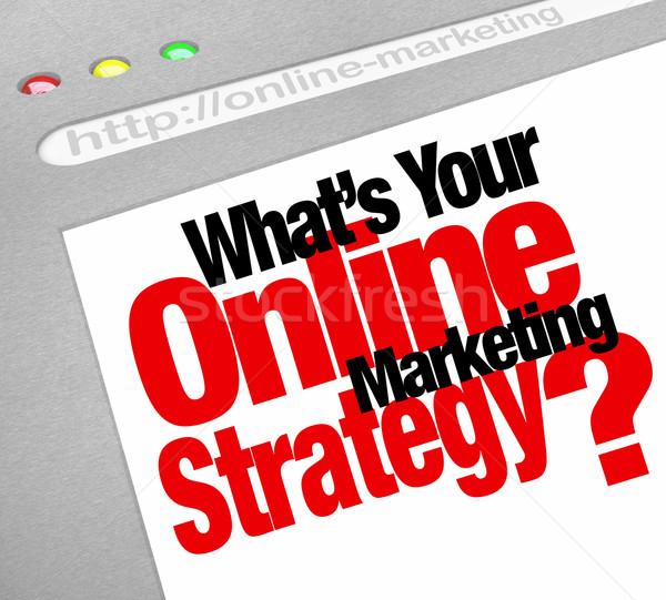 Интернет маркетинг стратегия сайт экране плана вопросе Сток-фото © iqoncept