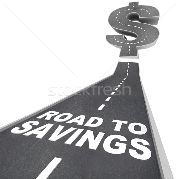 Stock photo: Road to Savings Dollar Sign Save Money Find Discounts Sale
