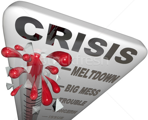 Crisis Thermometer Meltdown Mess Trouble Emergency Words Stock photo © iqoncept