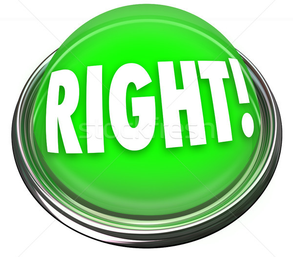 Right Green Button Light Flashing Correct Answer Stock photo © iqoncept