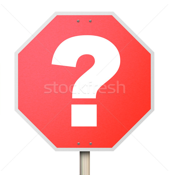 Question Mark on Stop Sign - Isolated Stock photo © iqoncept