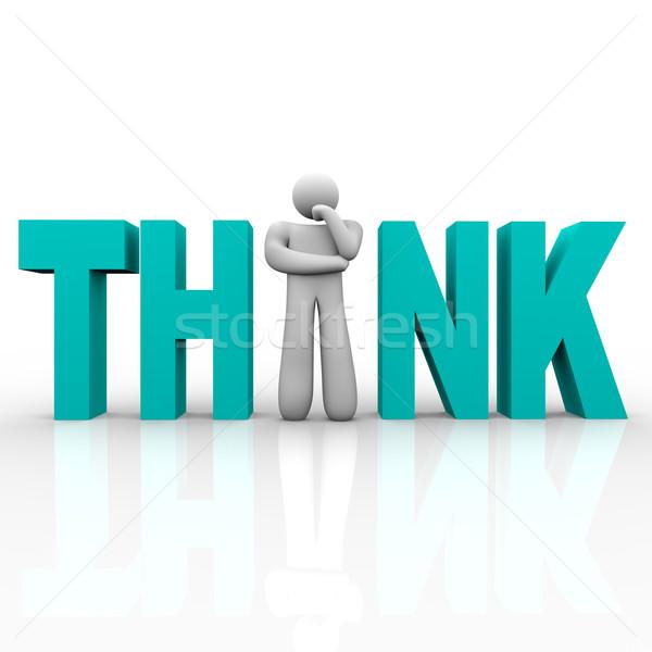 Denk man woord plaats letter i technologie Stockfoto © iqoncept