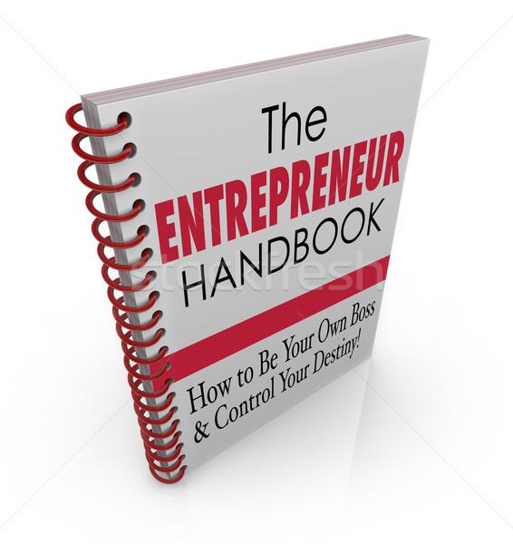 Ondernemer handboek leren advies vaardigheden informatie Stockfoto © iqoncept