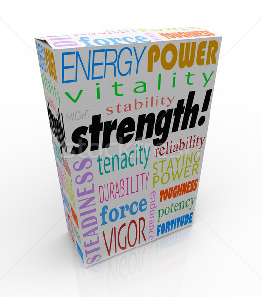 Strength Words Product Box Package Strong Choice Competitive Adv Stock photo © iqoncept