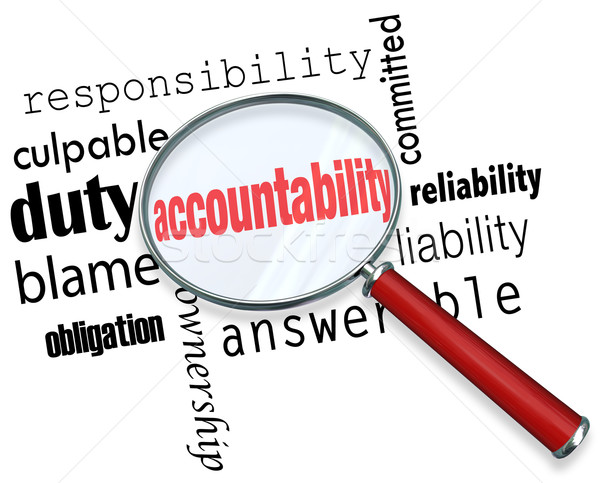 Stock photo: Accountability Search Find Responsibile People Credit Blame