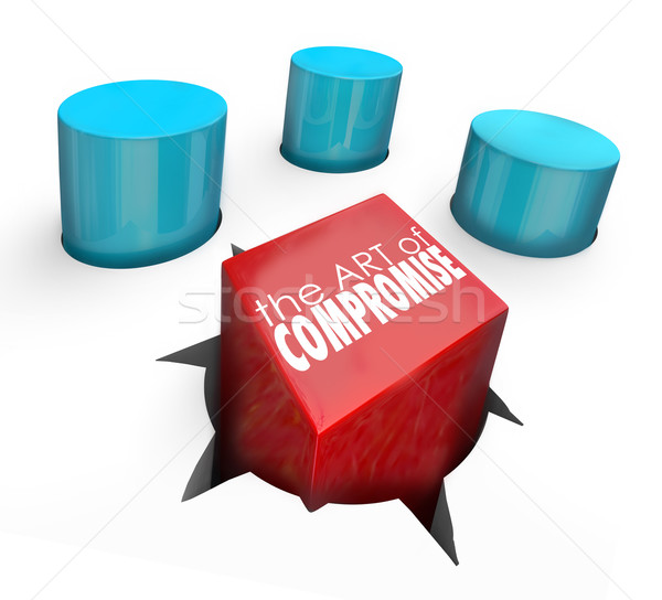 Art of Compromise Square Peg Round Hole Settle Differences Stock photo © iqoncept