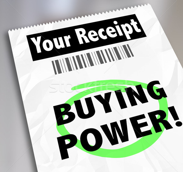 Buying Power Words Paper Receipt Purchase Shopping Saving Money Stock photo © iqoncept