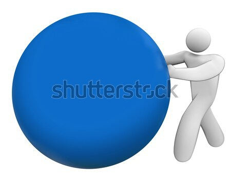 Man Person Pushing Rolling Blue Ball Sphere Blank Copy Space Stock photo © iqoncept
