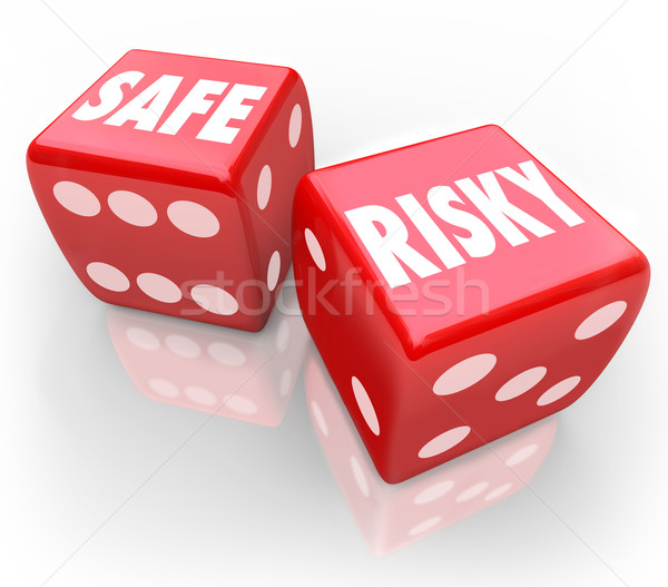 Risky Vs Safe Two Dice Security Reduce Liability Stock photo © iqoncept