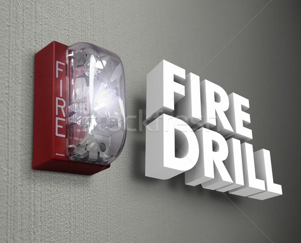 Fire Drill Alarm Emergency 3d Words Stock photo © iqoncept