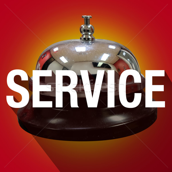 Bell Service Word Long Shadow Help Assistance Clerk Desk Stock photo © iqoncept