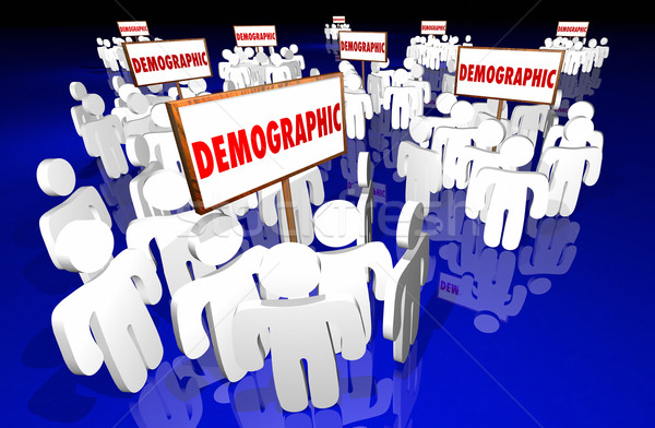 Demographic Niche Target Market Groups Community 3d Signs Stock photo © iqoncept