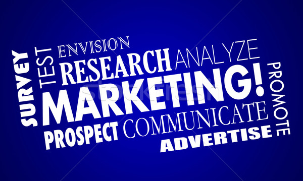 Marketing Promotion Research Analysis Word Collage 3d Illustrati Stock photo © iqoncept