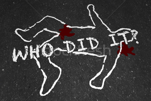 Who Did It Murder Crime Scene Suspect Chalk Outline Illustration Stock photo © iqoncept