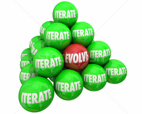 Evolve Vs Iterate Major Change Ball Pyramid 3d Illustration Stock photo © iqoncept