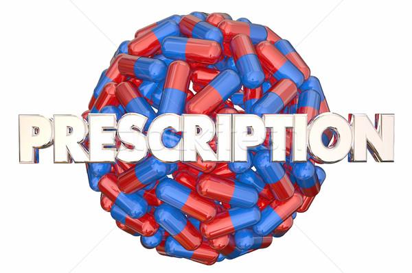 Vényköteles gyógyszer gyógyszer tabletták kapszulák gömb 3D Stock fotó © iqoncept
