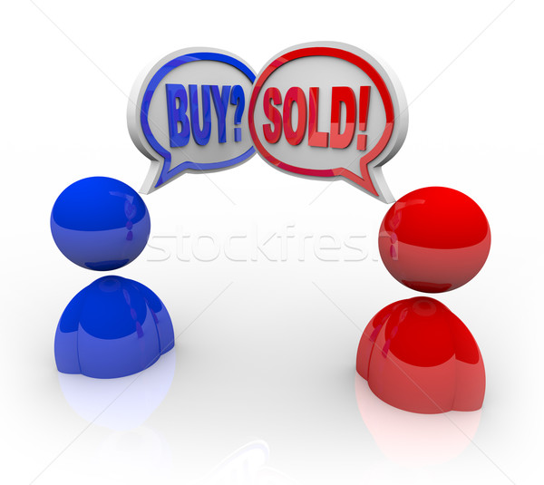 Buy and Sold Speech Bubbles Business People Deal and Transaction Stock photo © iqoncept