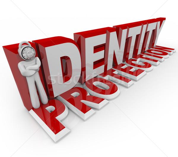Identidad protección cerradura de combinación hombre cabeza letra i Foto stock © iqoncept