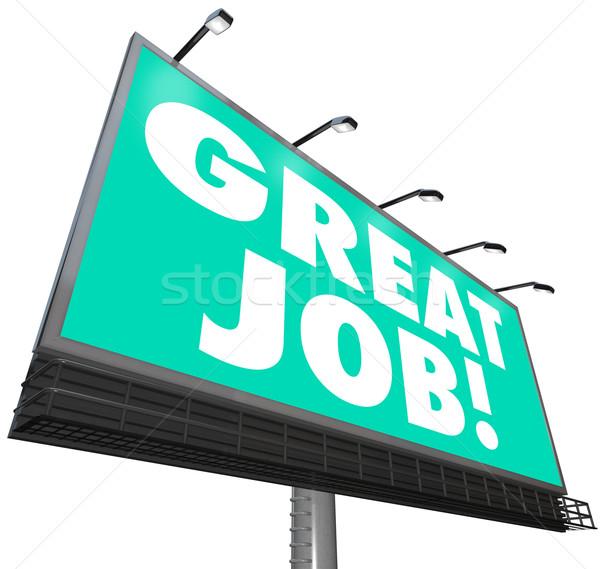 Groot baan billboard woorden waardering lof Stockfoto © iqoncept