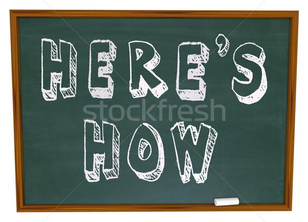 Foto stock: Conselho · instruções · palavras · quadro-negro · escrito · escolas