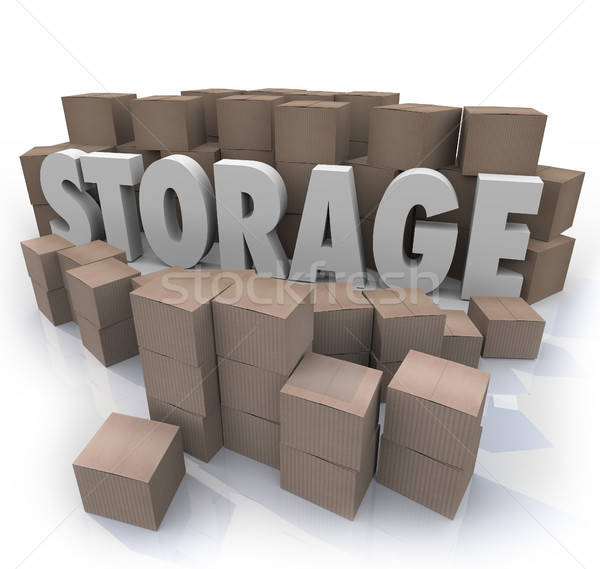 Storage Word Piles Cardboard Boxes Basement Locker Stock photo © iqoncept