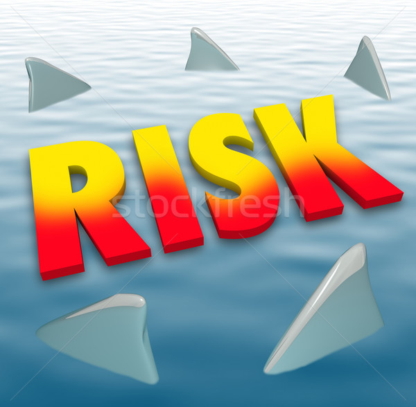 Risk Word Shark Fins Water Danger Deadly Warning Caution Stock photo © iqoncept