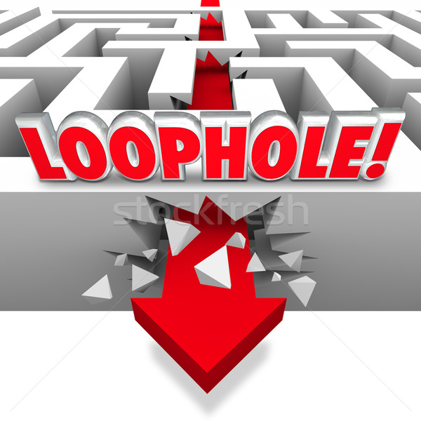 Loophole Arrow Crashing Through Maze Avoid Paying Taxes Cheating Stock photo © iqoncept