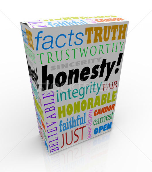 Honesty Sincerity Trustworthy Virtues Reputation Product Box Stock photo © iqoncept