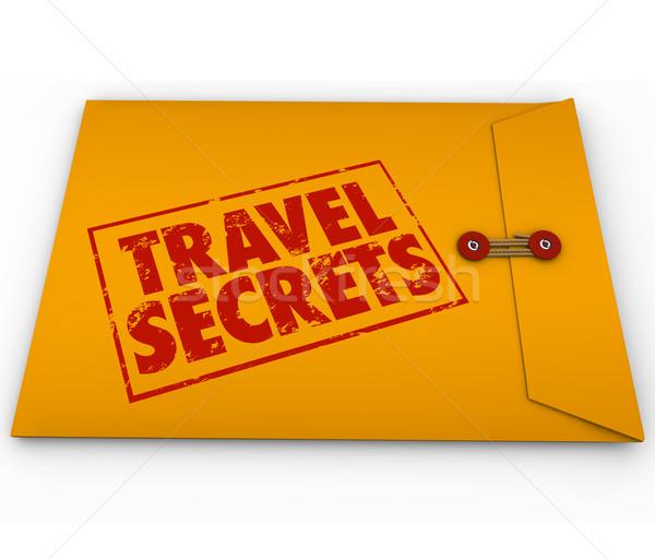Voyage secrets jaune confidentiel enveloppe conseils Photo stock © iqoncept
