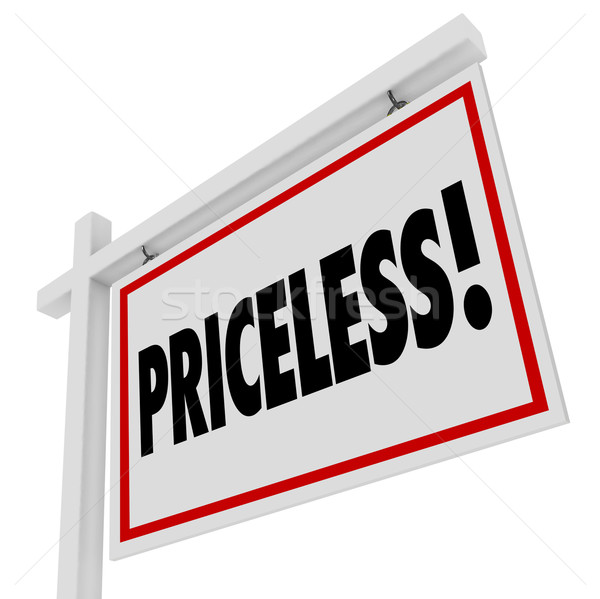 Priceless Word Home For Sale Real Estate Sign Expensive Value Stock photo © iqoncept
