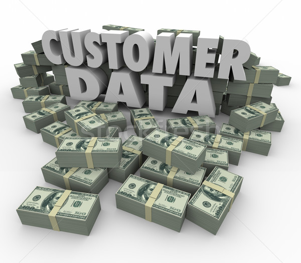 Customer Data 3d Words Money Cash Stacks Piles Valuable Contact  Stock photo © iqoncept