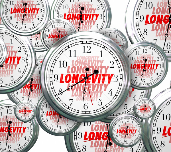 Longevity Word Clocks Time Flying Durable Lasting Experience Con Stock photo © iqoncept