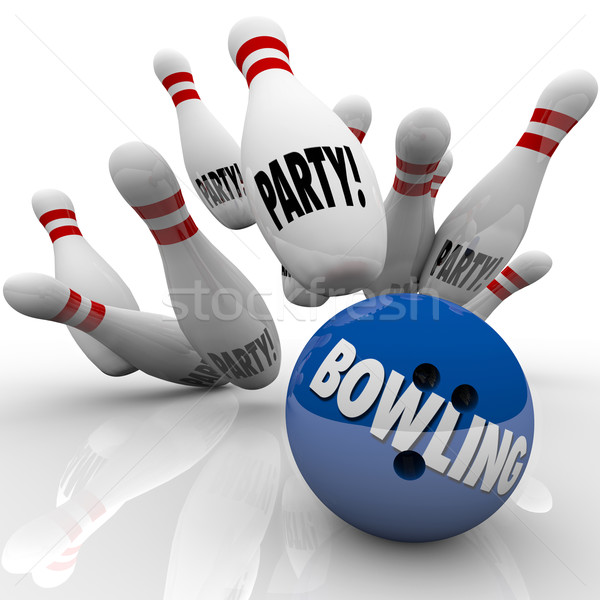 Bowling Party Ball Strikes Pins Fun Event Celebration Stock photo © iqoncept