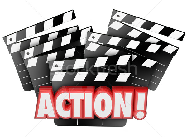 Action Movie Clapper Boards Acting Direction Producing Film Maki Stock photo © iqoncept