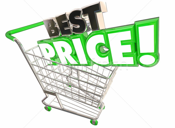 Best Price Shopping Cart Lowest Sale Deal 3d Illustration Stock photo © iqoncept