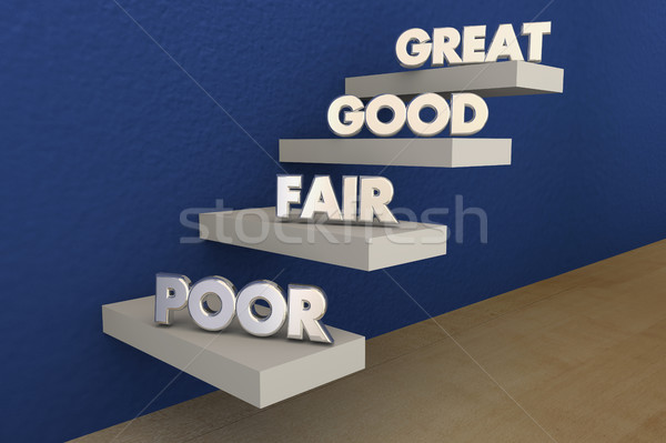 Poor Fair Good Great Grades Evaluation Steps 3d Illustration Stock photo © iqoncept