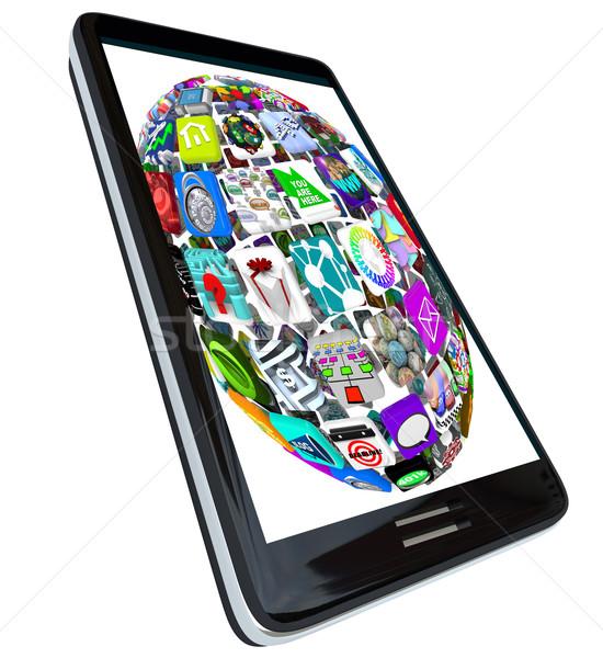 Sphere of App Icons on Smart Phone Stock photo © iqoncept