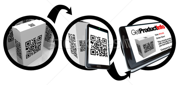 Scanning Product Box QR Code with Smart Phone Stock photo © iqoncept