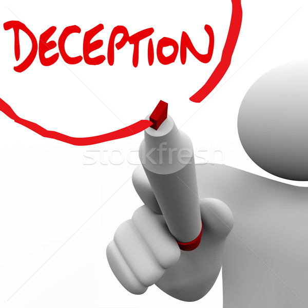 Deception Man Writing Word Lying Dishonesty Insincerity Stock photo © iqoncept