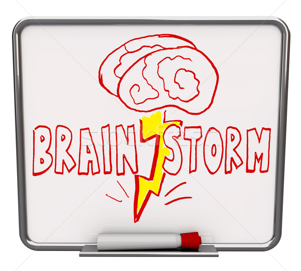 Brainstorm - Dry Erase Board with Red Marker Stock photo © iqoncept