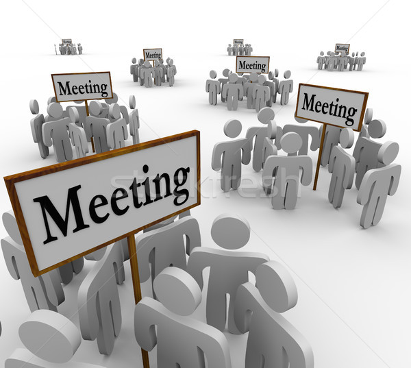 Sok megbeszélés emberek csoportok gyűlés körül Stock fotó © iqoncept