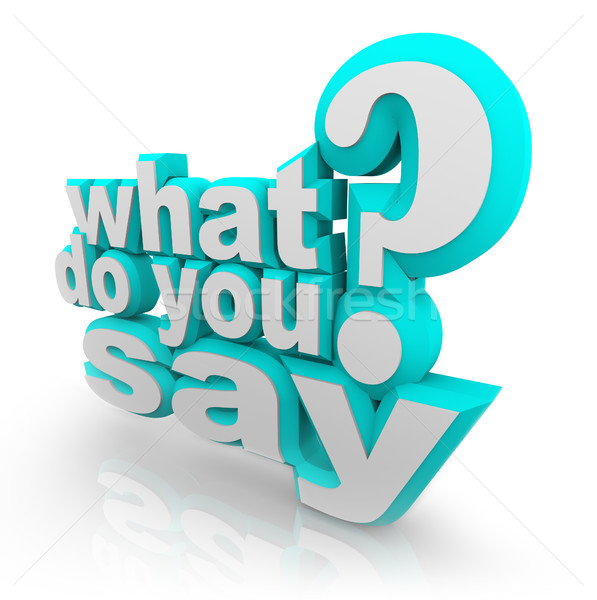 What Do You Say 3D Illustrated Words Question Mark Stock photo © iqoncept