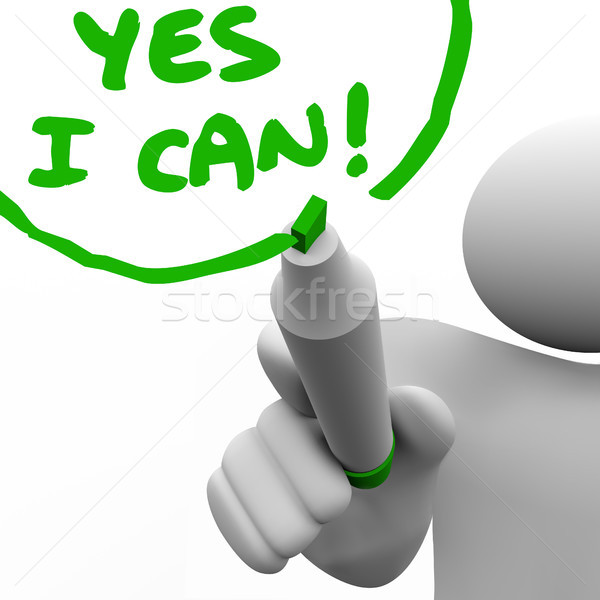 Yes I Can Person Writing Words with Marker Stock photo © iqoncept