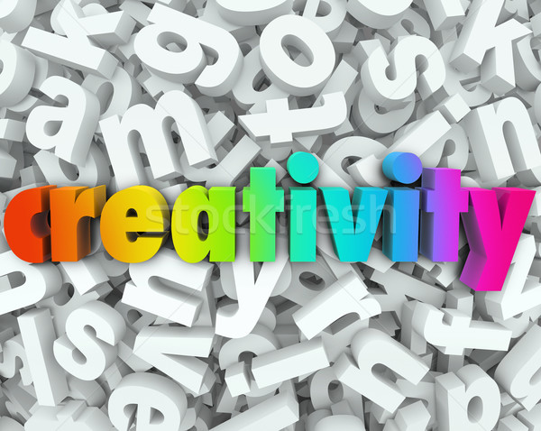 Creativity Imagination 3d Letter Word Background Creative Thinki Stock photo © iqoncept