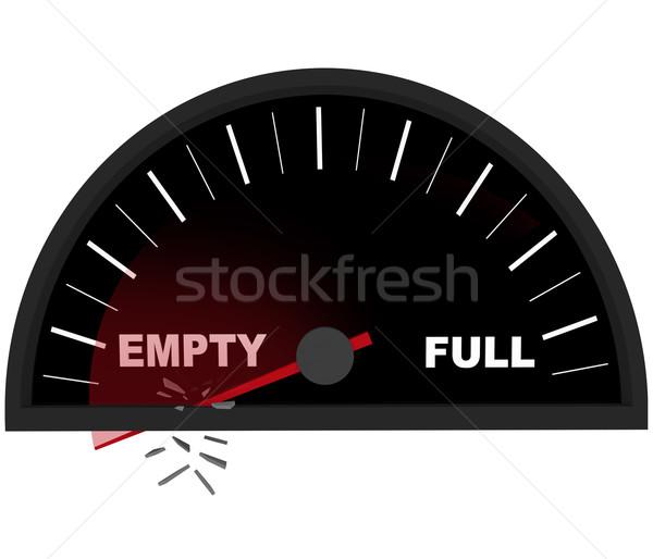 çalışma boş benzin göstergesi kırmızı iğne geçmiş Stok fotoğraf © iqoncept