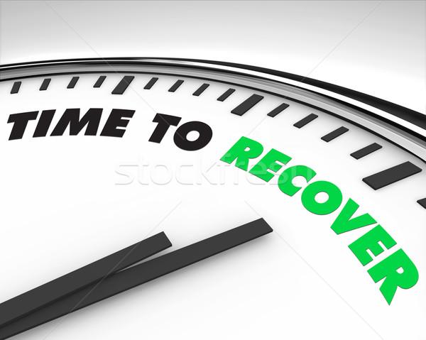 Foto stock: Tiempo · reloj · blanco · palabras · de · trabajo · signos