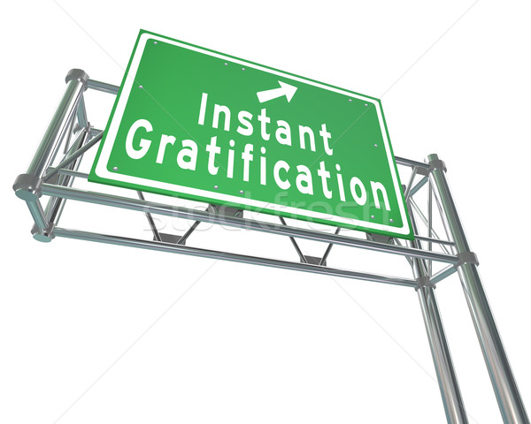 Instant Gratification Freeway Green Road Sign Satisfaction Stock photo © iqoncept