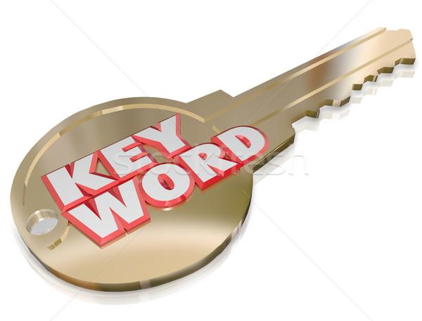 Trefwoord goud sleutel wachtwoord veiligheid toegang Stockfoto © iqoncept
