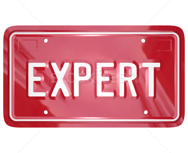 Expert Word License Plate Car Mechanic Engineer Technician Repai Stock photo © iqoncept